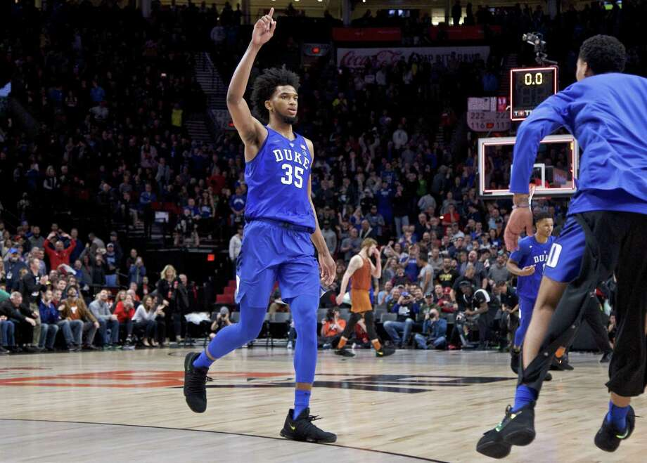 Duke forward Marvin Bagley III reacts at the end of overtime of an NCAA college basketball game against Texas in the Phil Knight Invitational tournament in Portland, Ore., Friday, Nov. 24, 2017. Duke won 85-78. (AP Photo/Craig Mitchelldyer) Photo: Craig Mitchelldyer, FRE / Associated Press / FR170751 AP