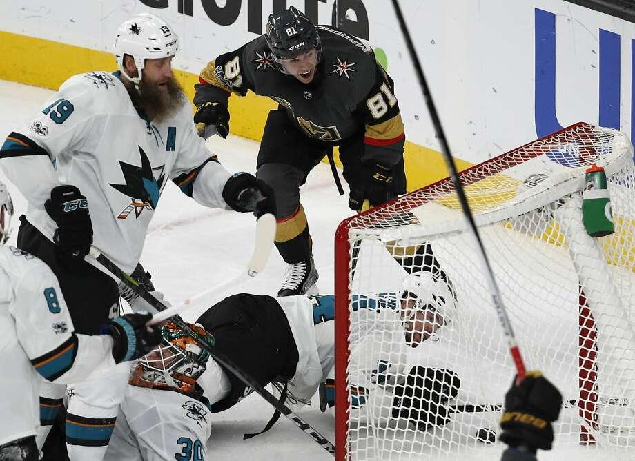 Vegas center Jonathan Marchessault (81) rejoiced after scoring the winner against the Sharks in overtime. Photo: John Locher, Associated Press