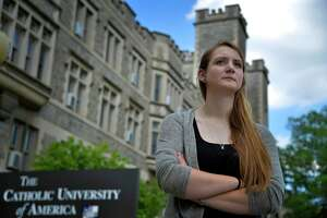 Erin Cavalier sued Catholic University in U.S. District Court for the District of Columbia, alleging the school violated her Title IX rights and seeking financial damages.