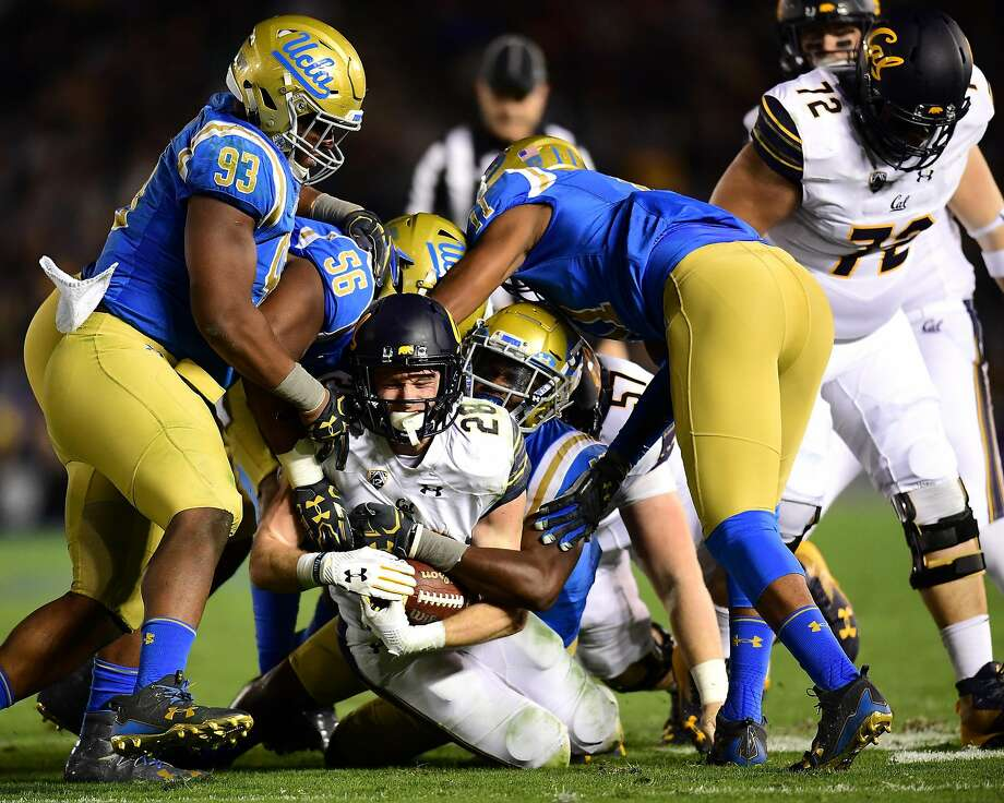 PASADENA, CA - NOVEMBER 24:  Patrick Laird #28 of the California Golden Bears reacts as he is tackled by the UCLA Bruins during the second quarter at Rose Bowl on November 24, 2017 in Pasadena, California.  (Photo by Harry How/Getty Images) Photo: Harry How, Getty Images