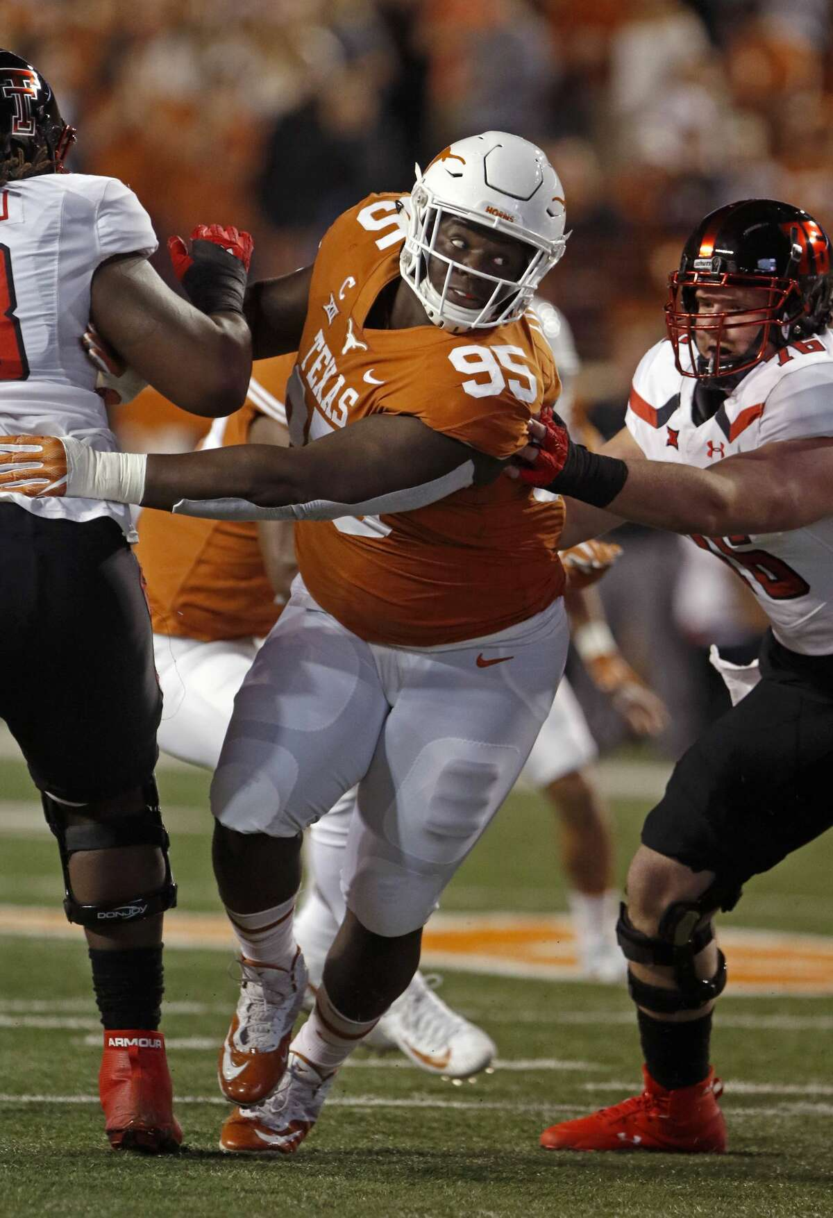 DT Poona Ford, Texas Ford (5-11, 303 pounds) earned all-conference honors in his final two seasons at Texas, and had eight tackles for loss in 2017 on his way to earning  Big 12 Defensive Lineman of the Year