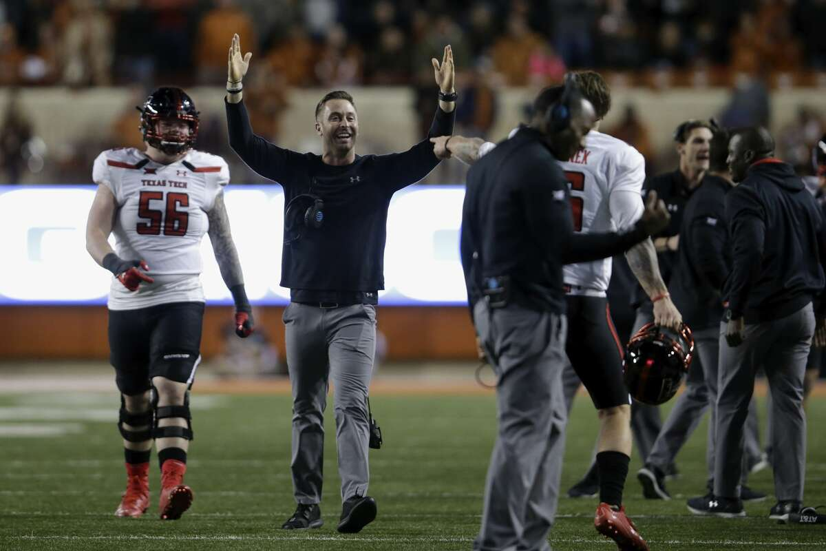 AUSTIN, TX - NOVEMBER 24: Head coach Kliff Kingsbury of the Texas Tech Red Raiders celebrates after in interception in the fourth quarter against the Texas Longhorns at Darrell K Royal-Texas Memorial Stadium on November 24, 2017 in Austin, Texas. (Photo by Tim Warner/Getty Images)