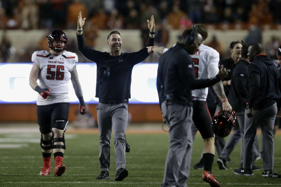 AUSTIN, TX - NOVEMBER 24:  Head coach Kliff Kingsbury of the Texas Tech Red Raiders  celebrates after in interception in the fourth quarter against the Texas Longhorns at Darrell K Royal-Texas Memorial Stadium on November 24, 2017 in Austin, Texas.  (Photo by Tim Warner/Getty Images) Photo: Tim Warner/Getty Images