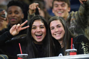 Nederland's fans during the Bulldog's play-off game against the Mustangs at NRG Stadium on Friday.  Photo taken Friday, November 24, 2017 Guiseppe Barranco/The Enterprise