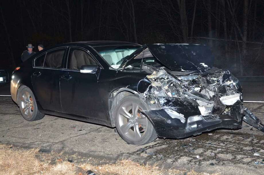 This Hyundai veered off Interstate 91 and eventually hit some trees. The driver, who was the sole occupant, was pronounced dead on scene. Photo: Courtesy Of Connecticut State Police
