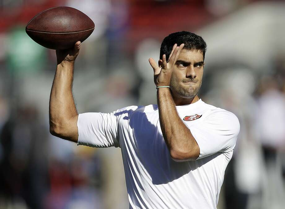 San Francisco 49ers quarterback Jimmy Garoppolo warms up before an NFL football game against the New York Giants in Santa Clara, Calif., Sunday, Nov. 12, 2017. (AP Photo/Marcio Jose Sanchez) Photo: Marcio Jose Sanchez, Associated Press