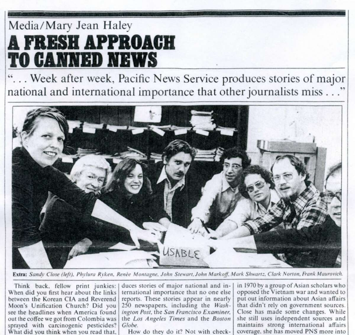 A 1978 profile of Pacific News Service in the magazine New West