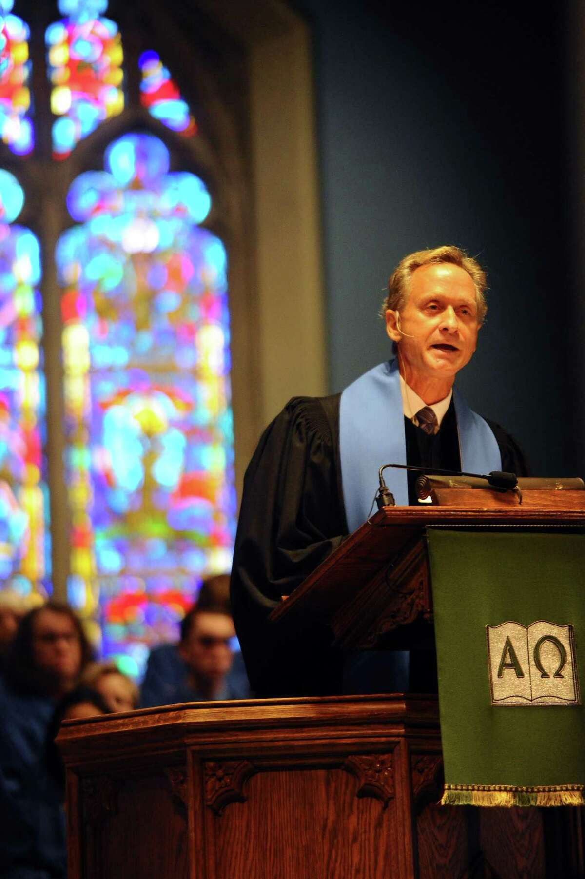 Rev. Richard DenUyl leads a Harvest Sunday service inside the First Congregational Church on Sound View Avenue in Greenwich, Conn. on Sunday, Nov. 19, 2017.