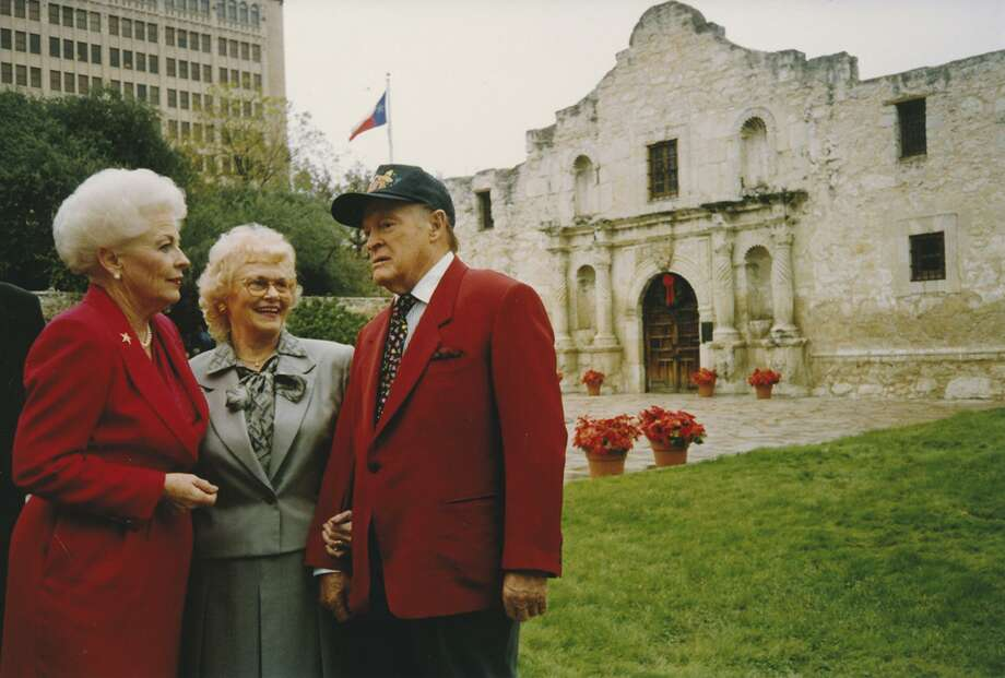 "During taping of one of his last Christmas specials, ""Bob Hope's Four-Star Christmas Fiesta From San Antonio,"" first broadcast Dec. 19, 1992, on NBC, Hope visits the Alamo with then-Texas Gov Ann Richards, left, and Marjorie Hardy, chairman of the Alamo Committee of the Daughters of the Republic of Texas, custodians of the Alamo at that time. Richards joked thet 'Davy Crockett and Jim Bowie sang a duet for the troops"" for the veteran entertainer's first Christmas special here. Photo: Courtesy WNET-TV"
