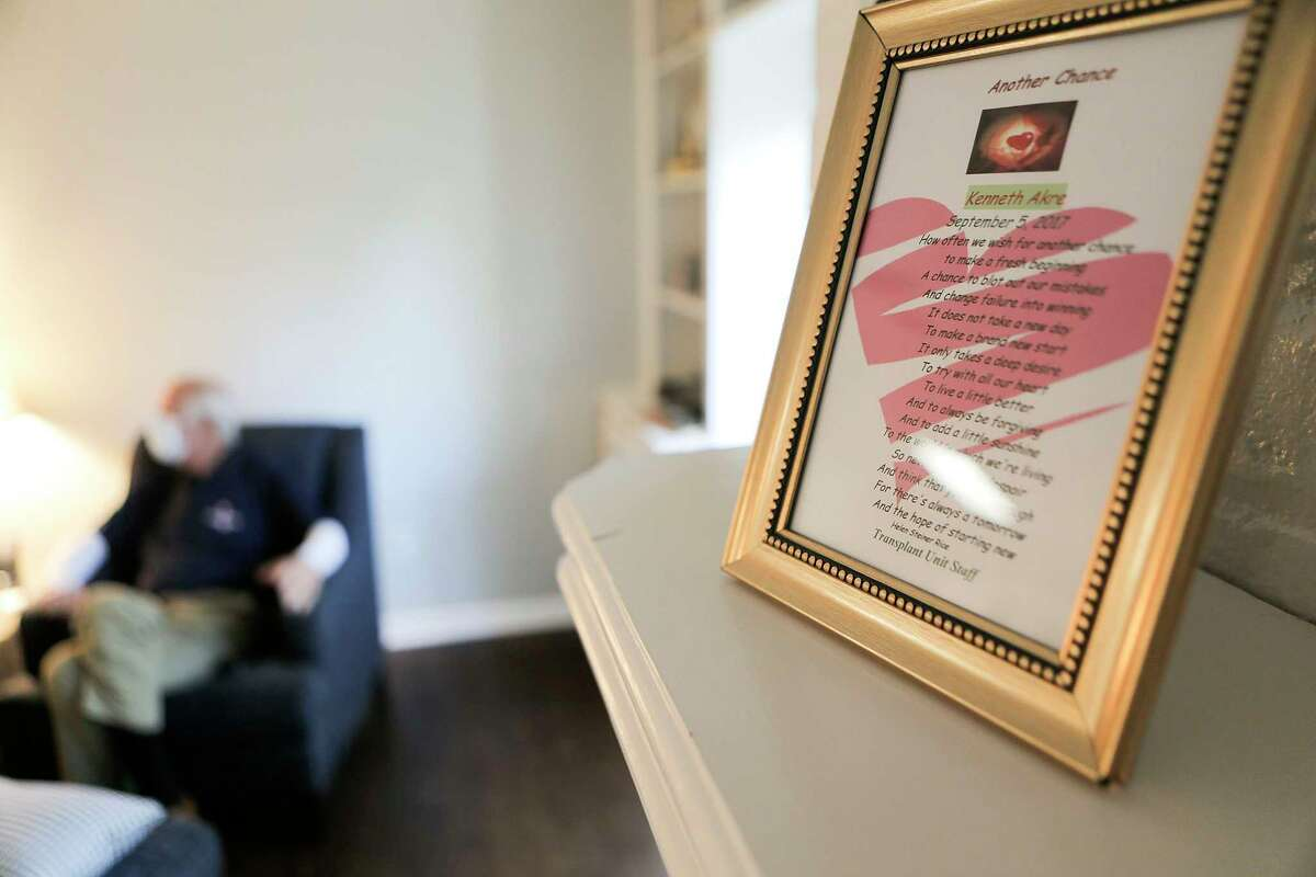 A poem written by the heart transplant team for Ken Akre, a recent heart transplant recipient, in his home on Tuesday, Nov. 14, 2017, in Houston. ( Elizabeth Conley / Houston Chronicle )