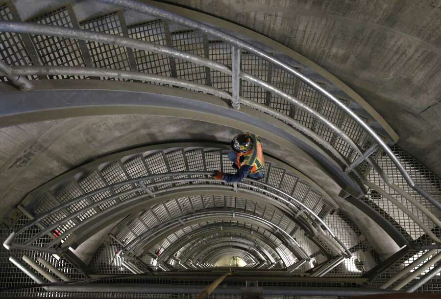 Field operations manager John Rocca climbs a staircase inside the new intake tower of the Calaveras Dam replacement project near Sunol, California on Tuesday, November 14, 2017. Photo: Paul Chinn / The Chronicle / ONLINE_YES