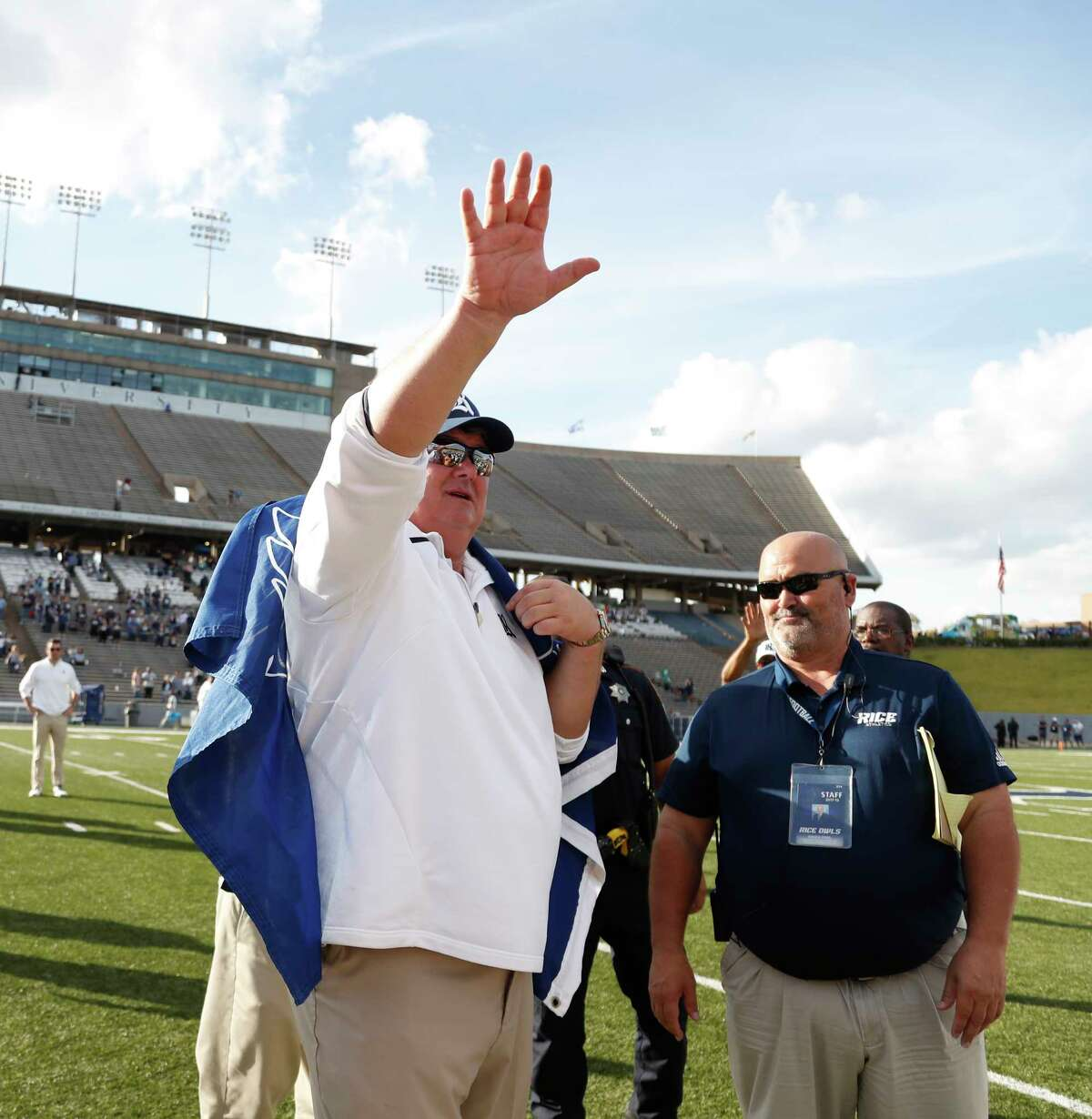 Coach David Bailiff waves to fans after the Owls lost 30-14 to North Texas on Saturday.