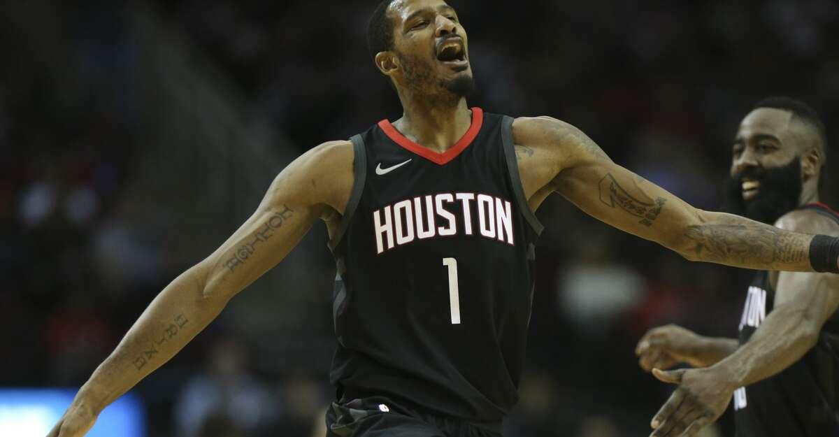 Houston Rockets forward Trevor Ariza (1) celebrates his three-pointer with James Harden during the third quarter of a NBA game at Toyota Center on Saturday, Nov. 25, 2017, in Houston. ( Yi-Chin Lee / Houston Chronicle )