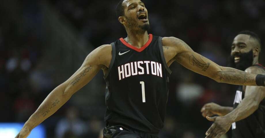 Houston Rockets forward Trevor Ariza (1) celebrates his three-pointer with James Harden during the third quarter of a NBA game at Toyota Center on Saturday, Nov. 25, 2017, in Houston.  ( Yi-Chin Lee / Houston Chronicle ) Photo: Yi-Chin Lee/Houston Chronicle