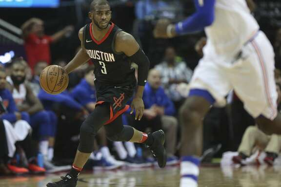 Houston Rockets guard Chris Paul (3) dribbles during the second quarter of a NBA game against the New York Knicks at Toyota Center on Saturday, Nov. 25, 2017, in Houston.  ( Yi-Chin Lee / Houston Chronicle )
