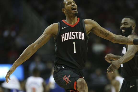 Houston Rockets forward Trevor Ariza (1) celebrates his three-pointer with James Harden during the third quarter of a NBA game at Toyota Center on Saturday, Nov. 25, 2017, in Houston.  ( Yi-Chin Lee / Houston Chronicle )