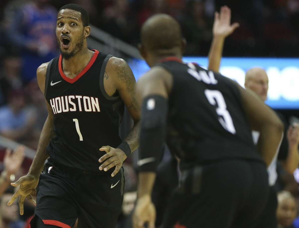 Houston Rockets forward Trevor Ariza (1) reacts to scoring a three-pointer during the third quarter of a NBA game against New York Knicks at Toyota Center on Saturday, Nov. 25, 2017, in Houston. ( Yi-Chin Lee / Houston Chronicle )