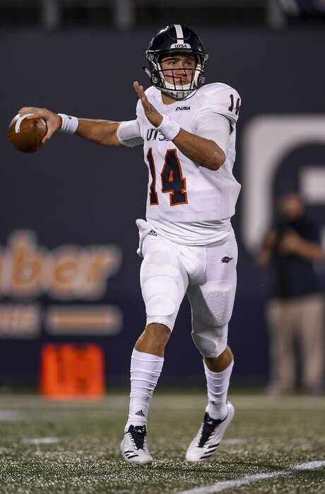 Quarterback Dalton Sturm #14 of the UTSA Roadrunners in action