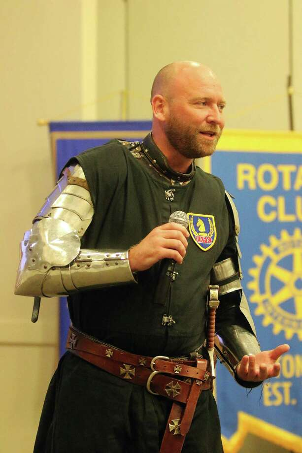 Chev. James Lehman, KTJ with the EarlyAct FirstKnight progam at Dayton ISD, was a special guest of the Dayton Rotary Club at the first joint meeting of the Liberty County Rotary Clubs. Lehman was the guest of the Dayton Rotary Club who sponsors the EarlyAct FirstKnight with Dayton ISD. Photo: David Taylor