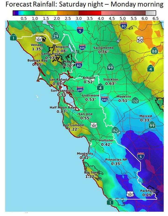 A low-impact storm is making its way through the Bay Area on Sunday and will continue with on-and-off showers through Monday morning, forecasters said.