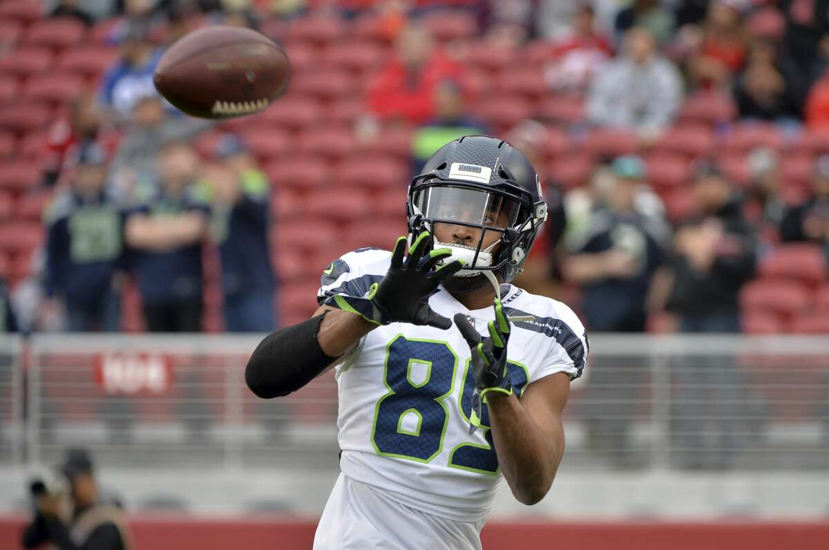 Seattle Seahawks wide receiver Doug Baldwin (89) warms up before an NFL football game Sunday, Nov. 26, 2017, in Santa Clara, Calif. (AP Photo/Don Feria)