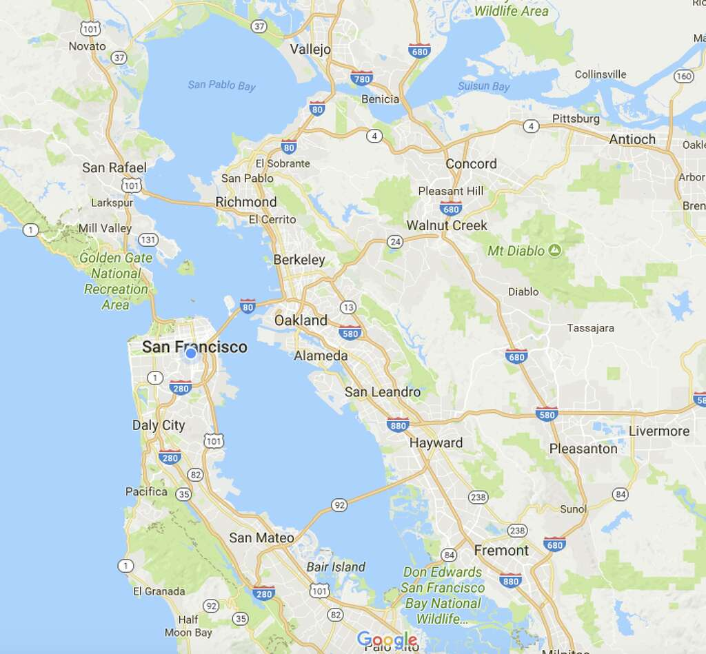 screenshots of google maps depicting the same region in  photo thered atlas the san francisco bay area . these 'chilling' soviet maps of san francisco bay area likely