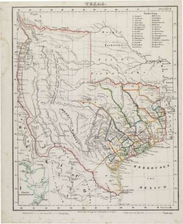 Shown is a Carl Flemming map of Texas. The early Republic of Texas map detailed the original boundaries as well as towns and the locations of Indian tribes. Republic of Texas maps are rare and high-priced artifacts of when Texas was its own country. Photo: Heritage Auctions