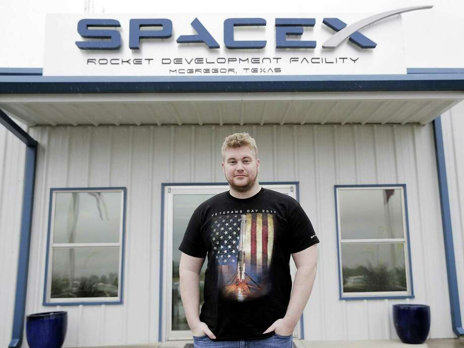 "Army veteran Zachary Ledford now works at SpaceX in McGregor. ""What more compelling mission is there than to make humanity an interplanetary species, right?"" Ledford says. Photo: Elizabeth Conley /Houston Chronicle / © 2017 Houston Chronicle"