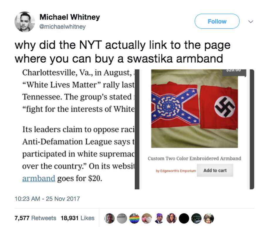 A New York Times profile of a Nazi sympathizer drew sharp criticism on social media. Photo: Screenshot Via Twitter