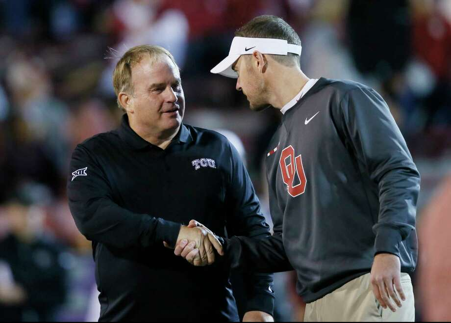 TCU coach Gary Patterson, left, and first-year Oklahoma coach Lincoln Riley will meet on the field for the second time this season when the Horned Frogs and Sooners play in the Big 12 title game at AT&T Stadium in Arlington on Saturday. Photo: Sue Ogrocki, STF / AP2017