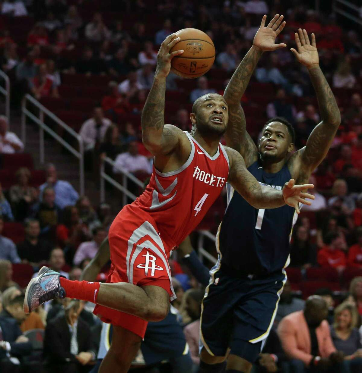 It's possible moving along the Rockets could switch forward P.J. Tucker, right, between the starting lineup and the bench, depending on matchups.