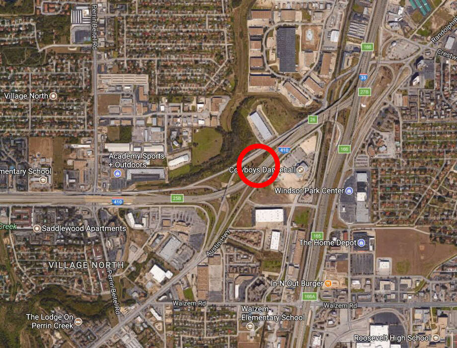 A motorcyclist died Sunday, Nov. 26, 2017, after hitting a concrete wall near Loop 410 on the Northeast Side, police say. Photo: Google