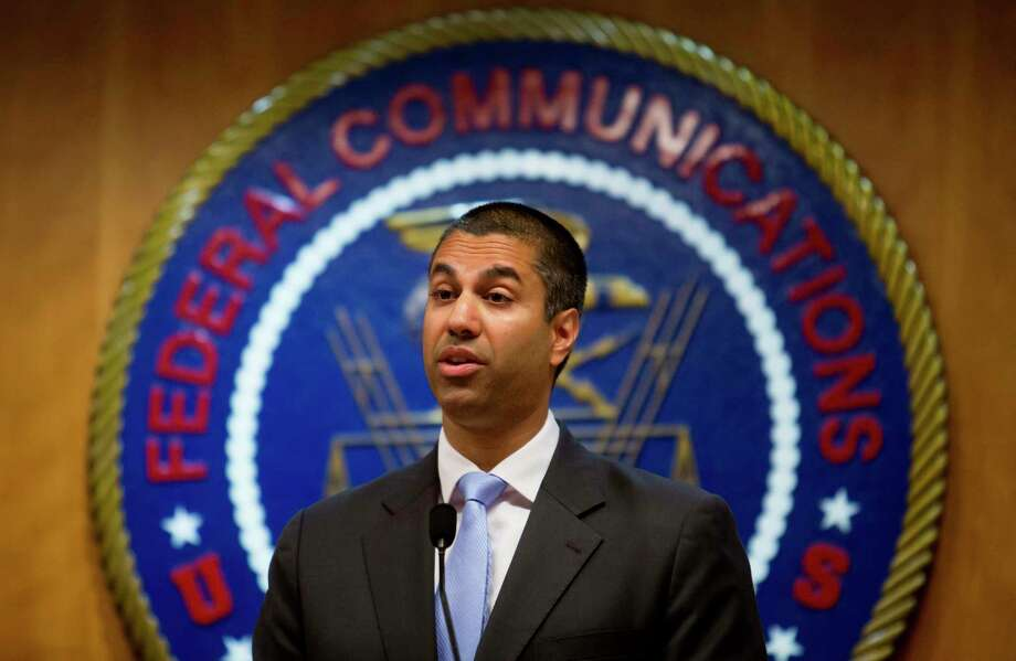 FILE -- Ajit Pai, chairman of the Federal Communications Commission, at the agency's headquarters in Washington, June 23, 2017.  The FCC on Oct. 25  announced plans to eliminate decades-old media ownership rules meant to protect local coverage and diversity in media voices. (Eric Thayer/The New York Times) Photo: ERIC THAYER, STR / NYTNS
