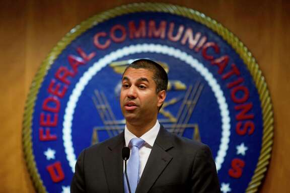 FILE -- Ajit Pai, chairman of the Federal Communications Commission, at the agency's headquarters in Washington, June 23, 2017.  The FCC on Oct. 25  announced plans to eliminate decades-old media ownership rules meant to protect local coverage and diversity in media voices. (Eric Thayer/The New York Times)