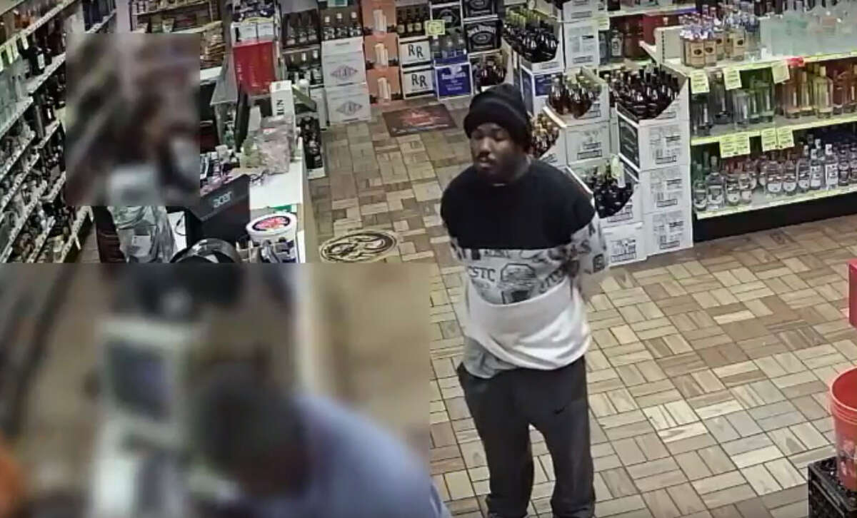 Houston police are searching for a man caught on video robbing a Houston liquor store on Halloween.