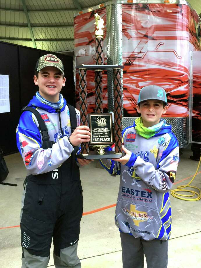 Kyler Kirkland, left, and Ashton Granger, of Evadale, were winners of the SETX High School Fishing Associations bass tournament on Feb. 4, at the Sam Rayburn-Umphrey Pavillion. (Photo provided by Bryan Thomas) Photo: Photo Provided By Bryan Thomas