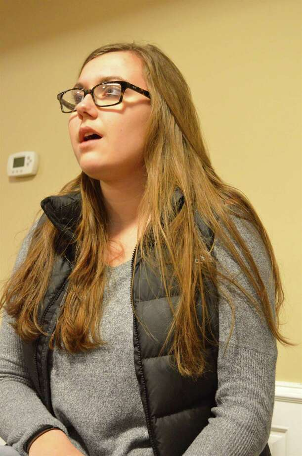 """Caroline Callahan, 17, of New Canaan, sings during a rehearsal for the """"Holy Grounds"""" coffee house at St. Aloysius Parish, Friday, Nov. 24, 2017, in New Canaan, Conn. Photo: Jarret Liotta / For Hearst Connecticut Media / New Canaan News Freelance"""