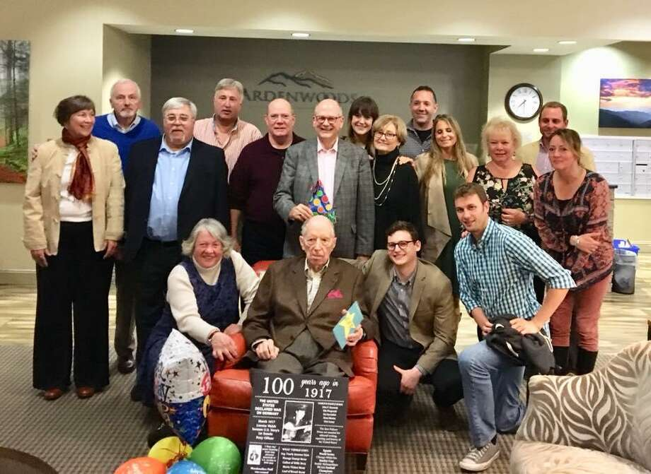 Richard Luchsinger with his family during his 100th birthday party at Ardenwoods senior living center in North Carolina. Photo: Contributed Photos /