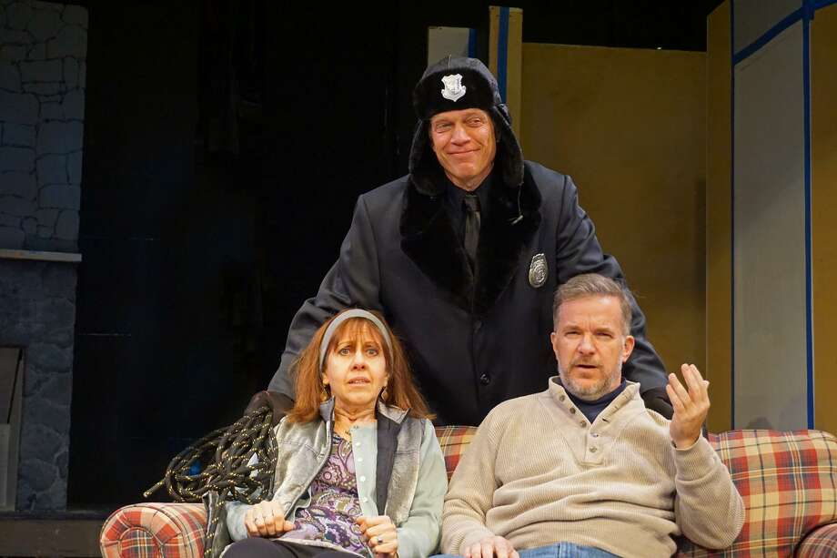 """Murder Takes a Holiday"" is on stage at The Sherman Playhouse, Dec. 1-23. Barbara Disraeli, left, rehearses with Jeffrey Alan Solomon and Rick Haylon. Photo: Tom Libonate / Contributed Photo"