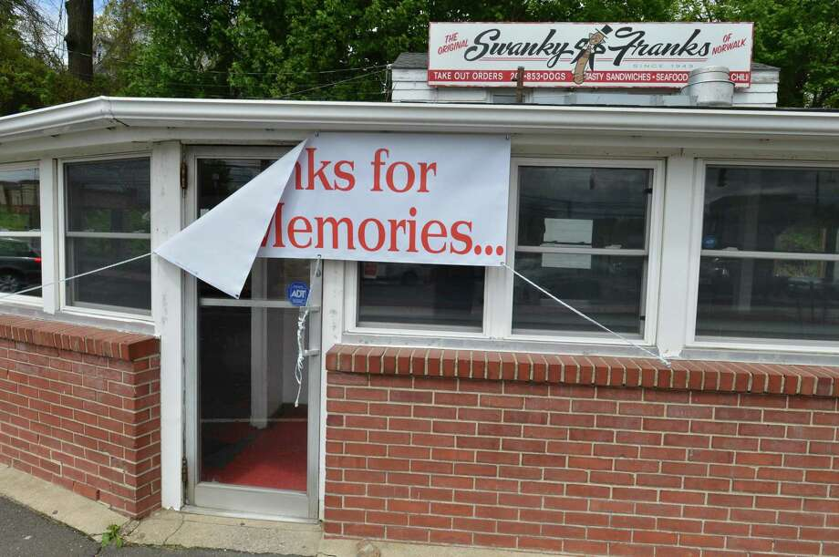 A sign bids customers farewell in May 2017 at The Original Swanky Franks of Norwalk at 182 Connecticut Ave. in Norwalk Conn. The hot dog diner was a fixture in Norwalk for more than 60 years. Photo: Alex Von Kleydorff / Hearst Connecticut Media / Norwalk Hour