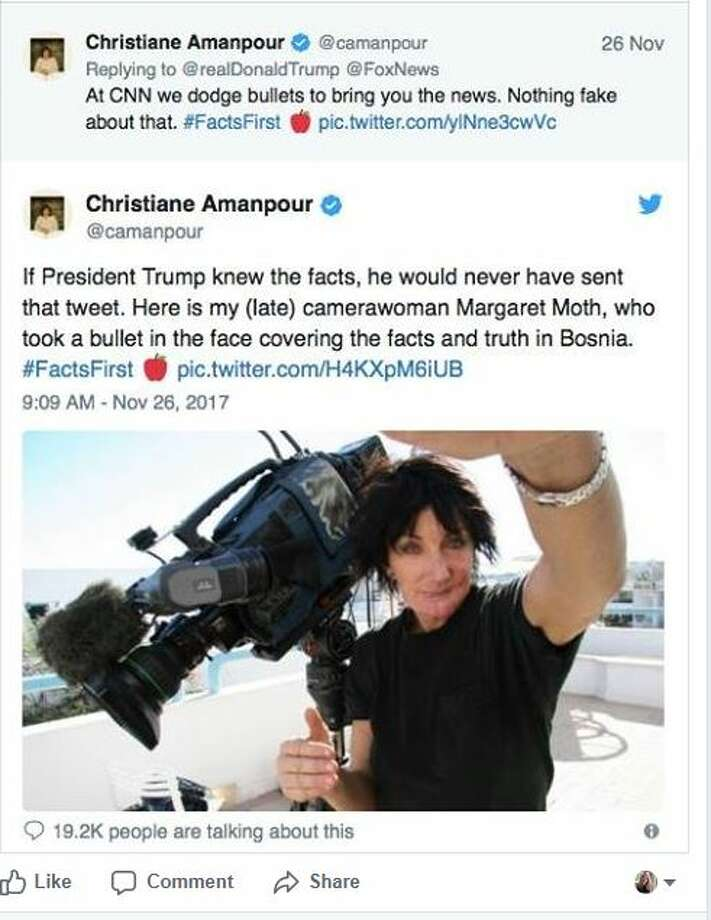 Christiane Amanpour's Tweet paid tribute to late camerawoman Margaret Moth.