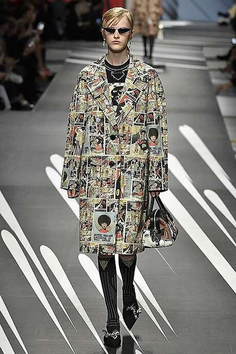A Prada coat with print derived from Trina Robbins' drawings. Photo: Courtesy Of Prada, With Permission To The Chronicle