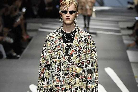 Prada coat with print derived from Trina Robbins' drawings
