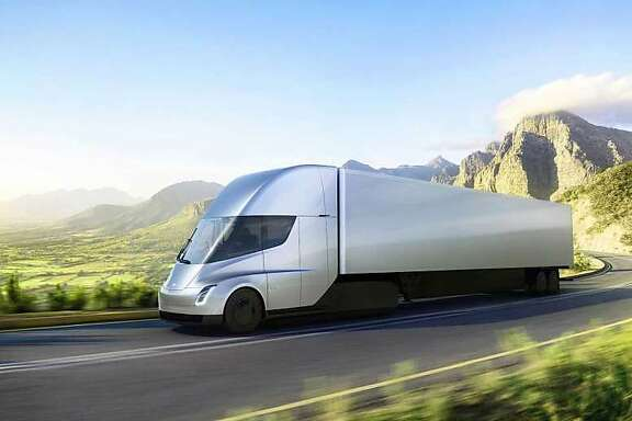 This photo provided by Tesla shows the electric semitractor-trailer the company unveiled this week