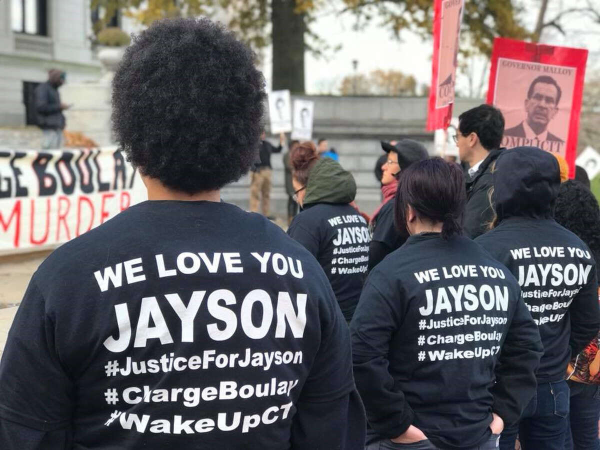 Community members and advocates for Racial Justice and Police Accountability from across the state gathered near the State Capitol in Hartford, Conn. on Monday, November 27, 2017. The rally was held to bring attention to the killing of 15 year-old Jayson Negron by the Bridgeport Police Department and to call on State's Attorney Maureen Platt to release the video evidence in the case and charge Officer James Boulay, who fatally shot Negron, with murder.