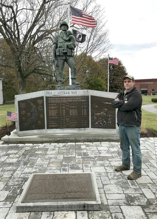 Brian Kolwicz of Kolwicz Landscaping stands by the Vietman Memorial at the entrance to Rogers Park in Danbury, Conn., on Wednesday, Nov. 22, 2017. Kolwicz donated time and labor to landscape around the memorial. Photo: Chris Bosak / Hearst Connecticut Media / The News-Times