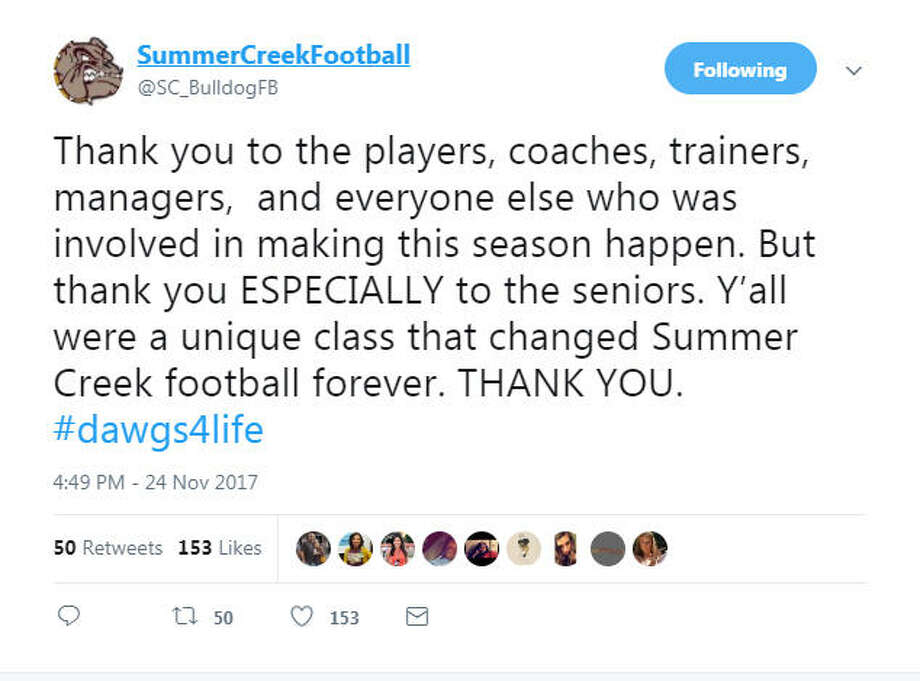The Twitter account for the Summer Creek football team Photo: Summer Creek Football Twitter
