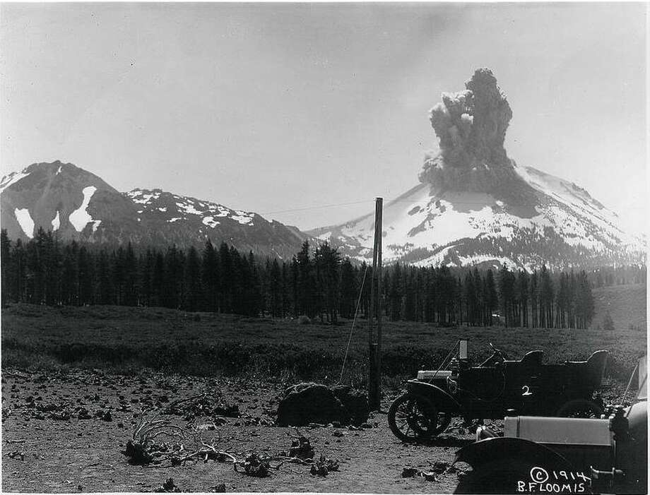 This archival photo shows one of the 1914 eruptions of Lassen Peak, leading up to the major eruption in May 1915. Photo: USGS