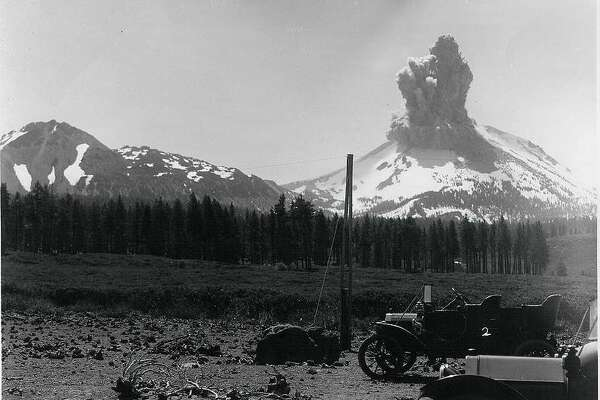 This archival photo shows one of the 1914 eruptions of Lassen Peak, leading up to the major eruption in May 1915.