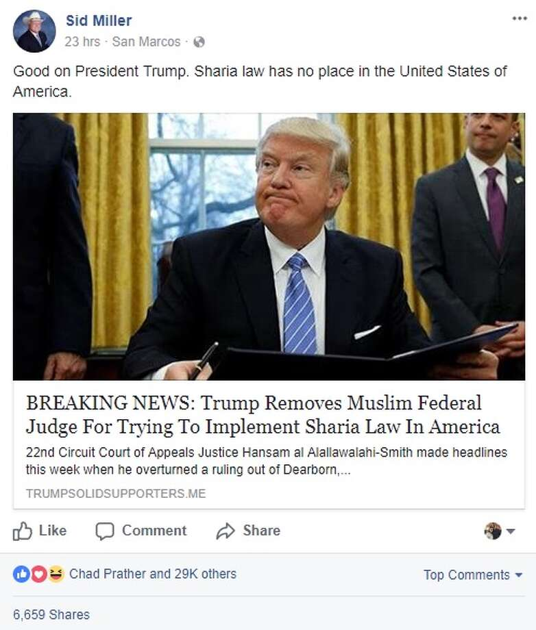 "Texas Agriculture Commissioner Sid Miller: ""Good on President Trump. Sharia law has no place in the United States of America."" Photo: Facebook/Sid Miller"
